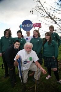 David Bellamy with planting trees with school children.